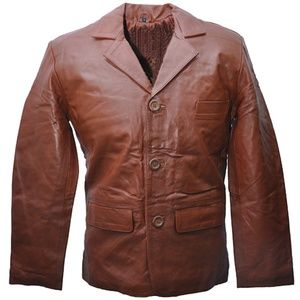 48a7b0fd353 Jemison Leather Formal Genuine Brown Coat Jacket. Boutique